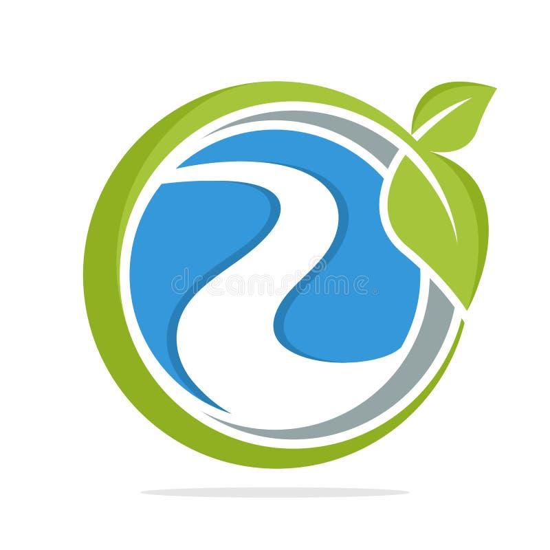 Logosymbol med naturligt flodomsorgbegrepp royaltyfri illustrationer