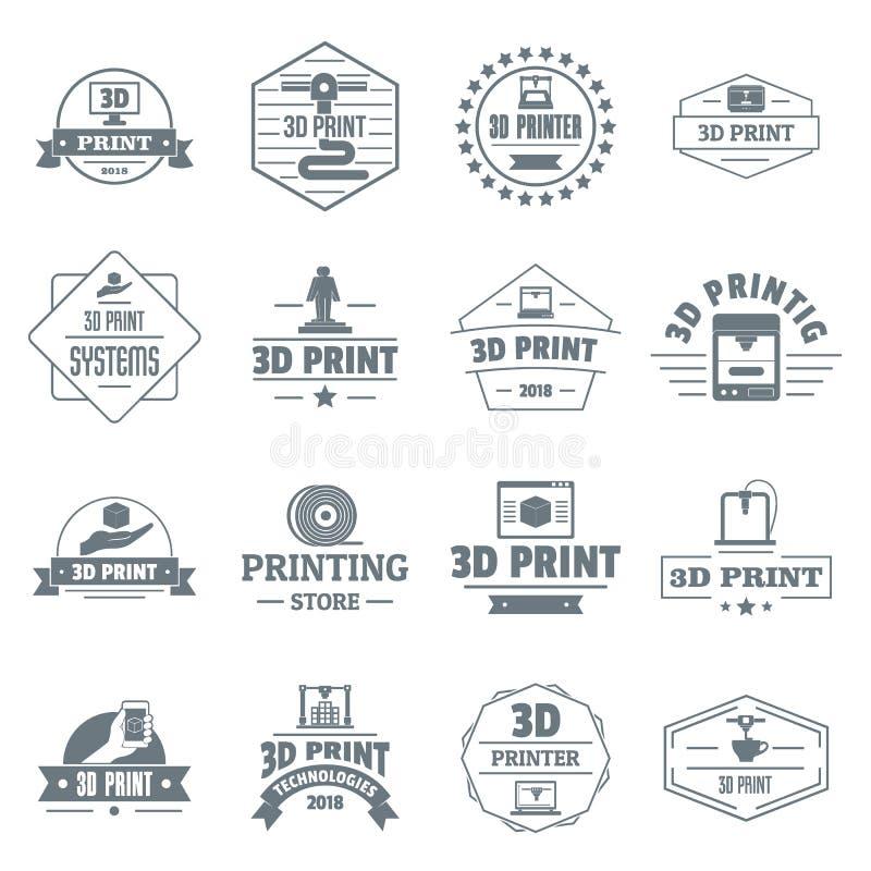 logosymboler för printing 3d ställde in, enkel stil royaltyfri illustrationer