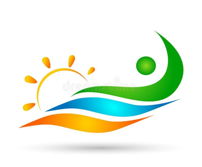 Logoteamarbeitsfeier Wellnessikonen-Vektorentwürfe der Leutesonnenseewellen-Wasserwelle gewinnende schwimmende auf weißem Hinterg vektor abbildung
