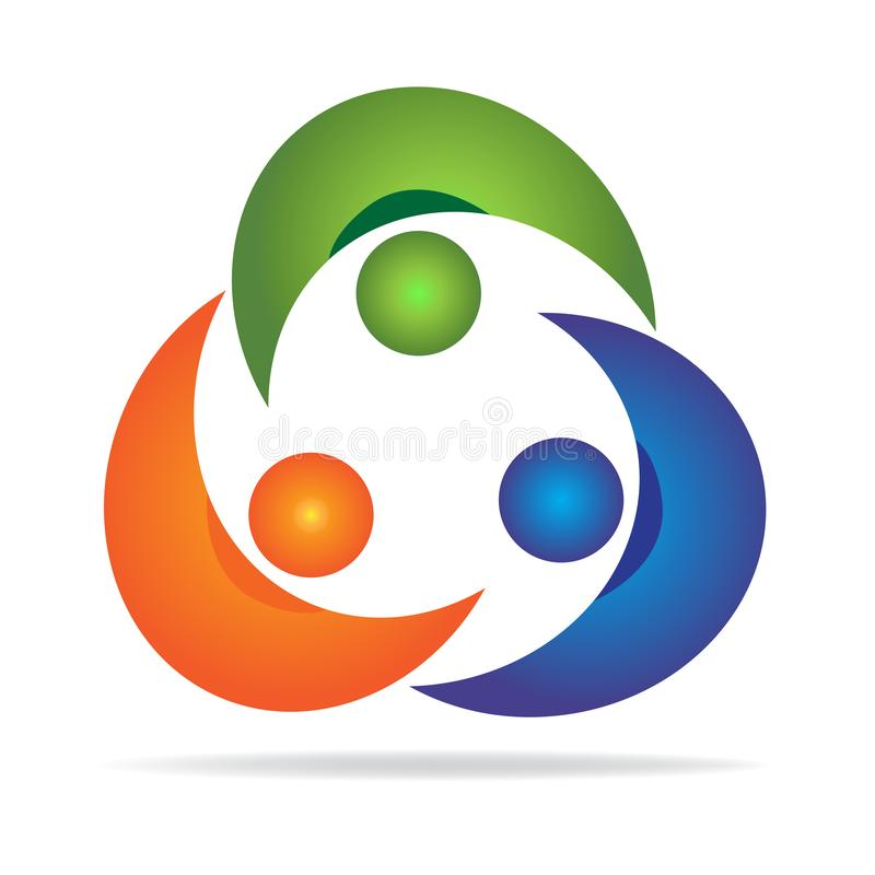 Logoteamwork-Partnerverbandsleute-Personalausweis-Vektorikonen-Designillustration vektor abbildung