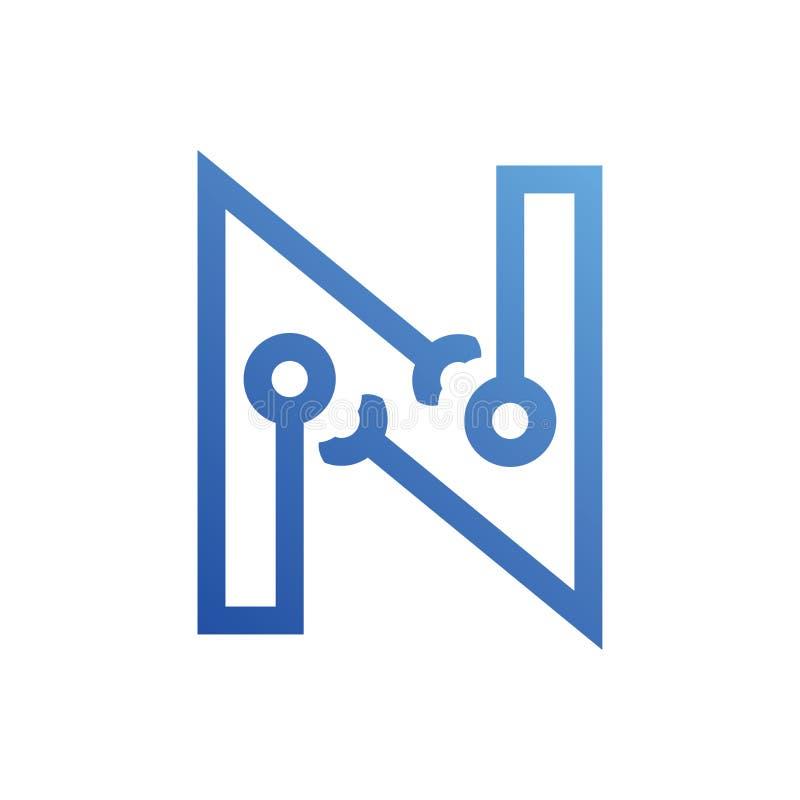 Logotecken för bokstav N materiell design, linje stil - vektor royaltyfri illustrationer