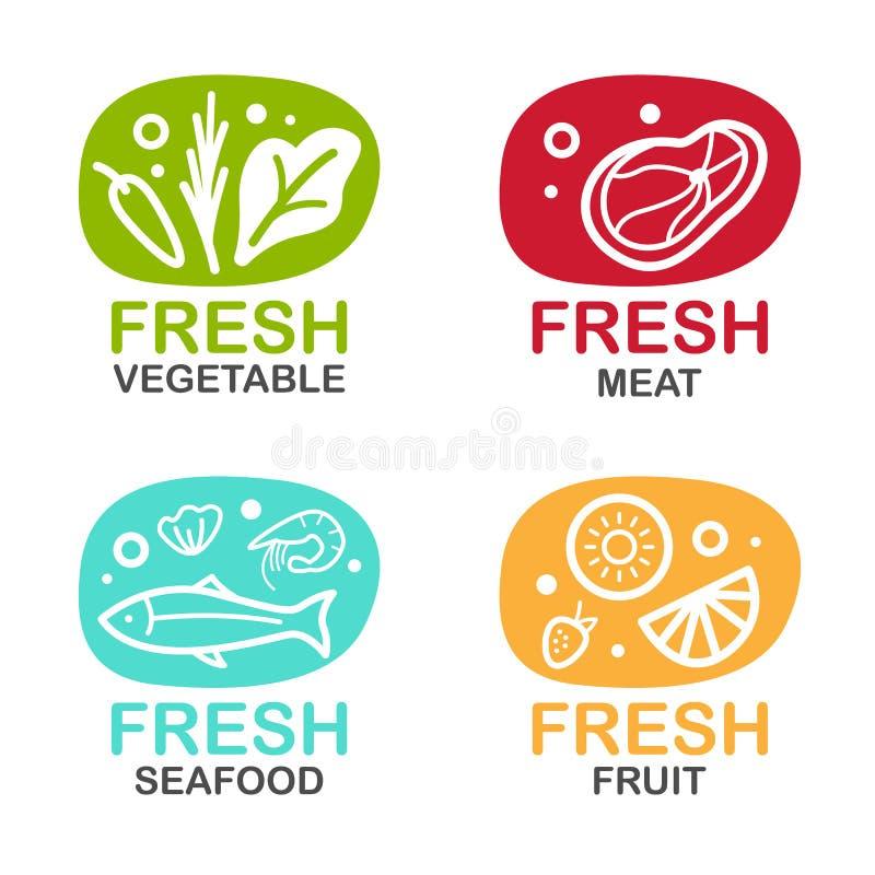 Logotecknet för ny mat med vektorn för för grönsakköttskaldjur och frukt planlägger vektor illustrationer