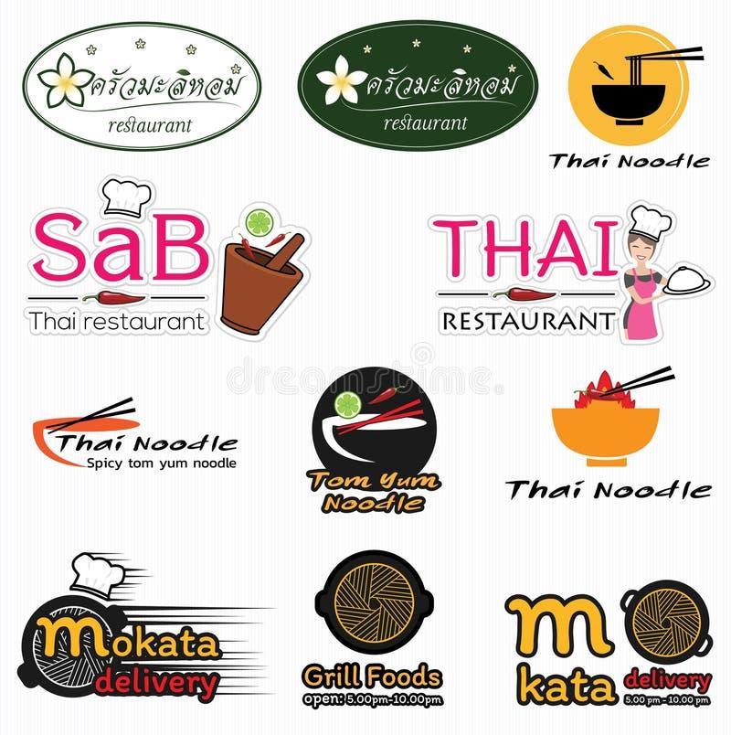 Logothailand-Restaurants entwerfen lizenzfreie stockbilder