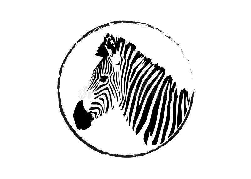 Logotierzebrakopf, gestreifter Entwurfsvektor lokalisiert oder ein weißer Hintergrund lizenzfreie abbildung