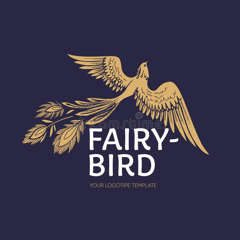 Logotipe del pájaro del fuego del vector Vuelo gráfico estilizado del pájaro de Phoenix con la plantilla ampliada del logotipo de ilustración del vector