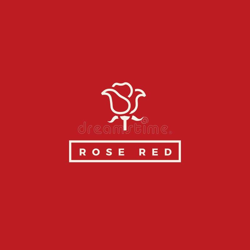 Logotipo à moda do vetor da rosa do vermelho Linha floral logotype ilustração royalty free