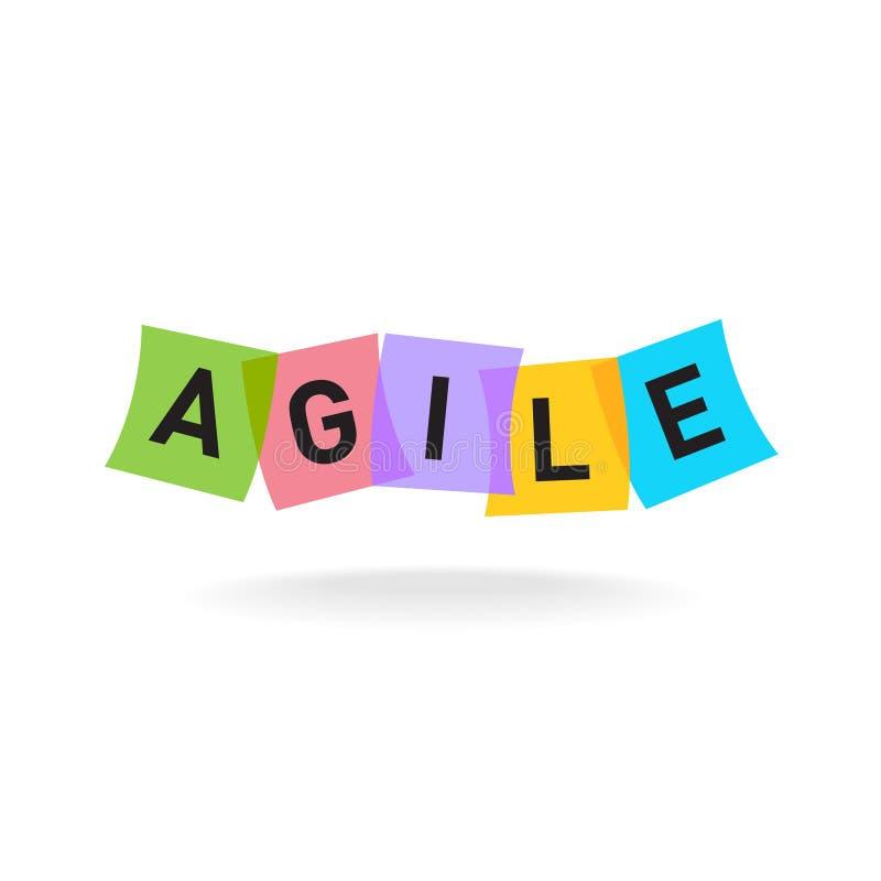 Logotipo ágil de la palabra Letras ágiles con las etiquetas engomadas de la oficina del color stock de ilustración