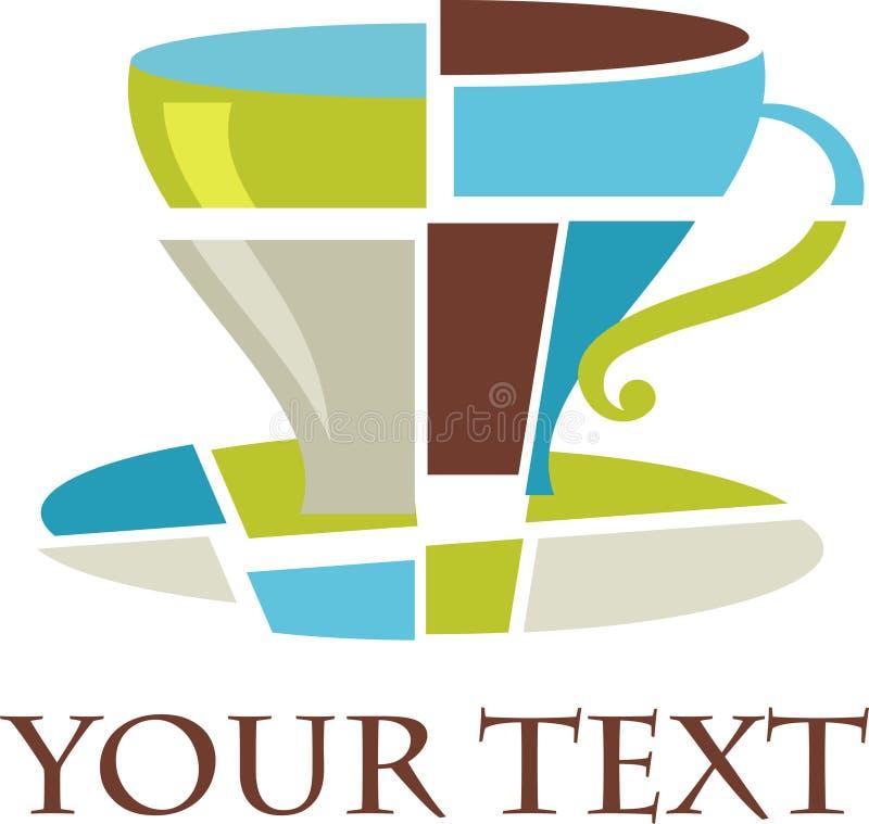 Logotipo/ícone do copo de café do Cubist ilustração royalty free