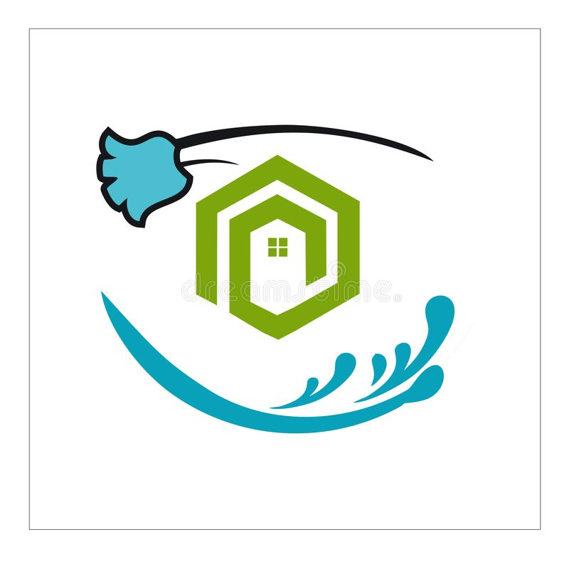 Logotipo, ícone e para a limpeza e a manutenção ilustração stock