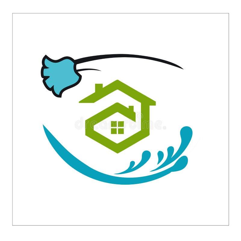Logotipo, ícone e para a limpeza e a manutenção ilustração royalty free