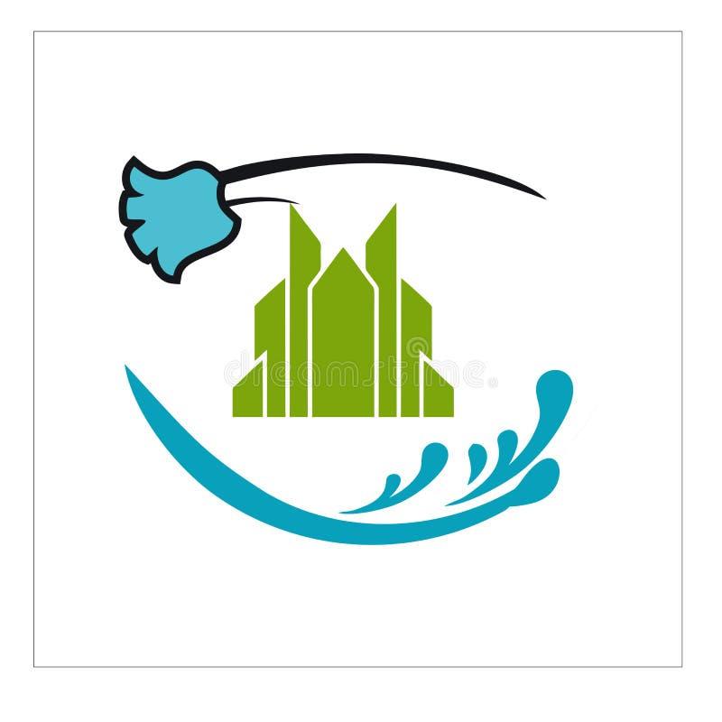 Logotipo, ícone e vetor para a limpeza e a manutenção ilustração do vetor