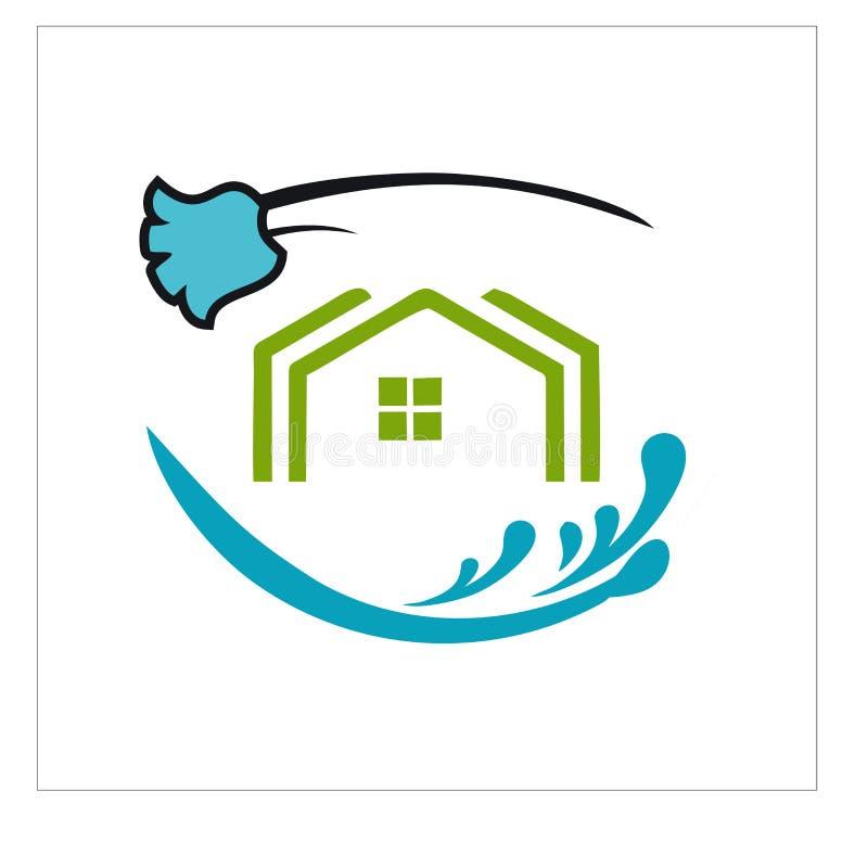 Logotipo, ícone e vetor para a limpeza e a manutenção ilustração royalty free