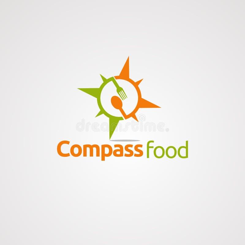 Logotipo, ícone, elemento, e molde do vetor do alimento do compasso para a empresa ilustração stock
