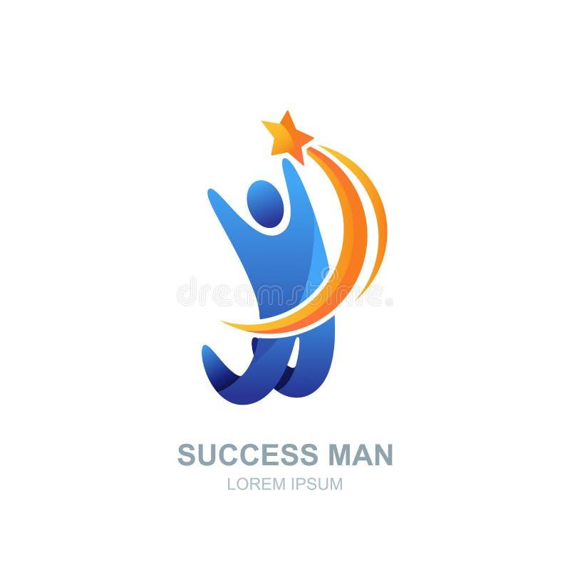 Logotipo, ícone ou emblema humano do vetor Cometa de travamento da estrela do homem Conceito do negócio, da liderança, do sucesso ilustração stock
