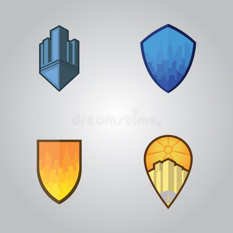 Logotipo único de la ciudad cuatro y propiedades inmobiliarias stock de ilustración