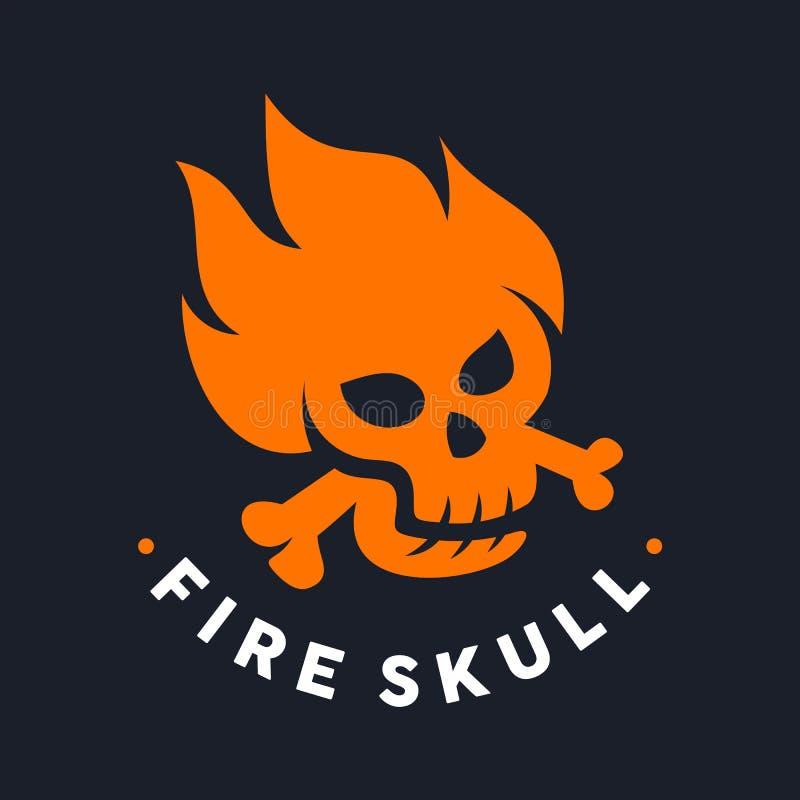 Logotipo único del cráneo del fuego stock de ilustración