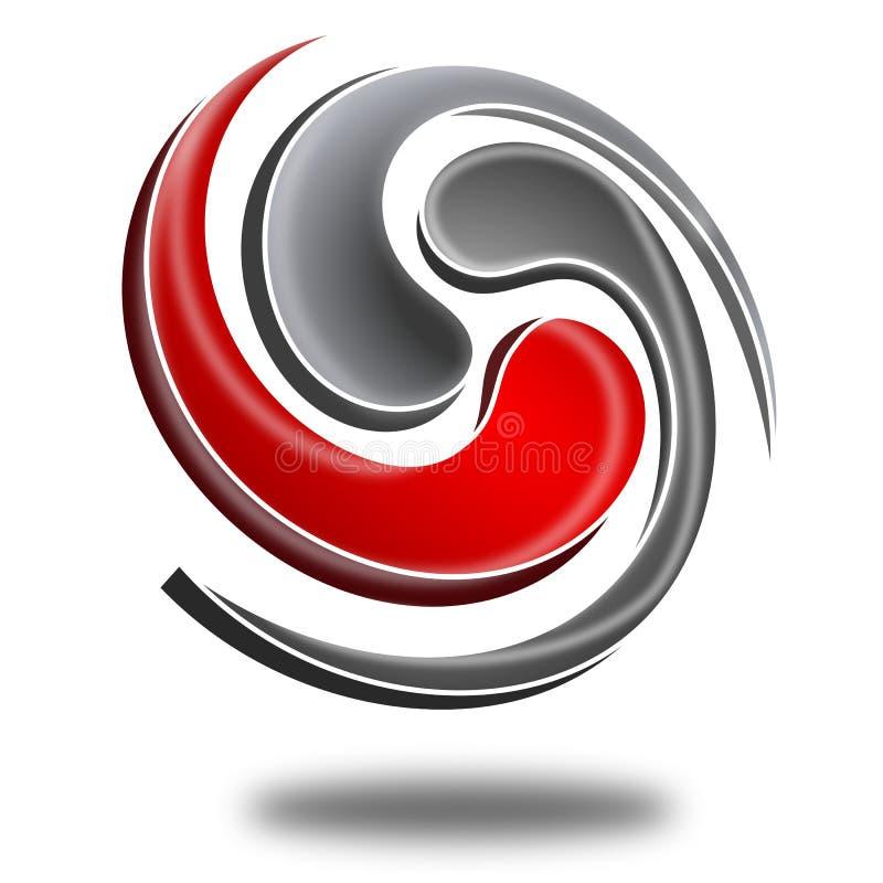 Logotipo 3d abstrato ilustração stock