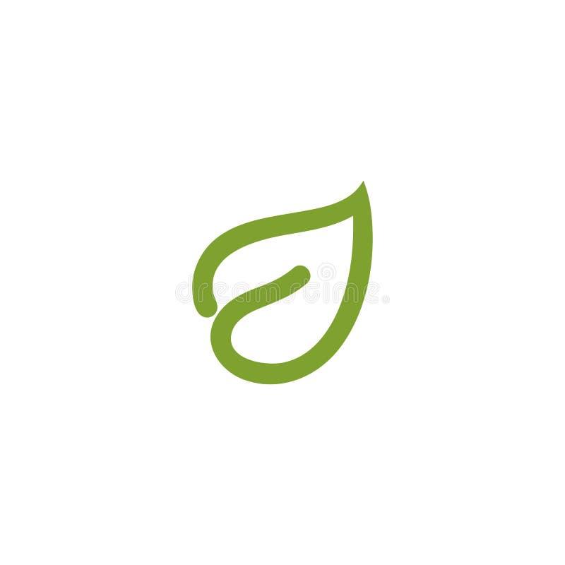 Logotipo abstracto aislado del contorno de la hoja del color verde Logotipo de la atención sanitaria Icono natural de los cosméti ilustración del vector