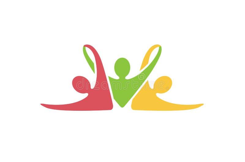 Logotipo abstracto colorido del entrenamiento del gimnasio de la aptitud de la gente libre illustration