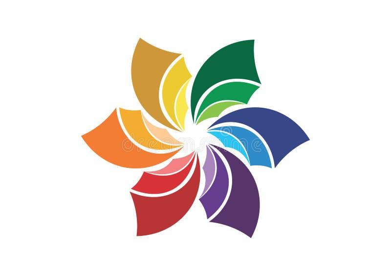 Logotipo abstracto de la flor, símbolo de la compañía, medios icono social corporativo ilustración del vector
