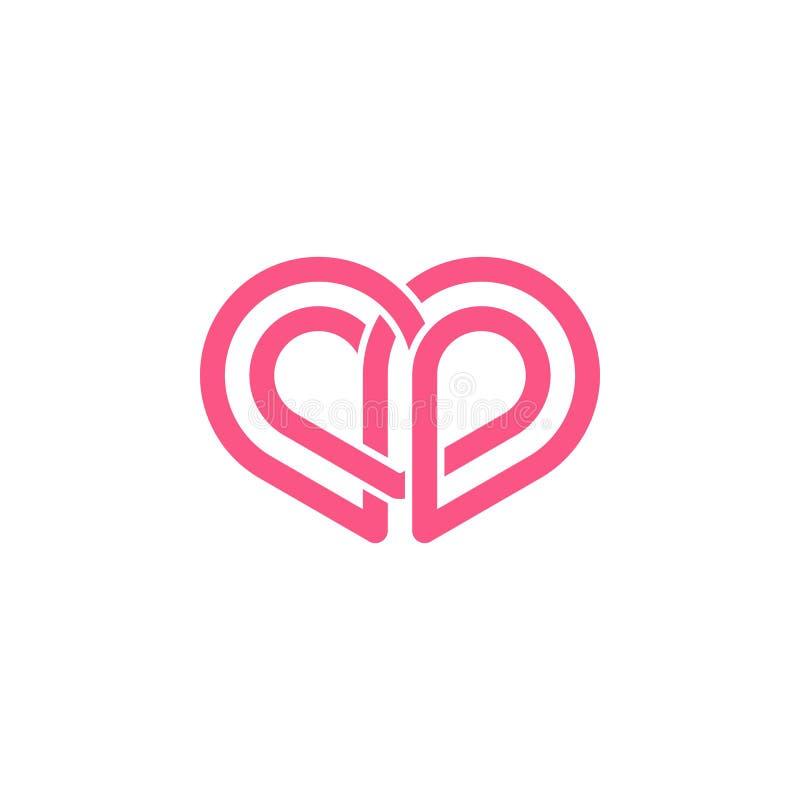 Logotipo abstracto de la forma del amor ilustración del vector