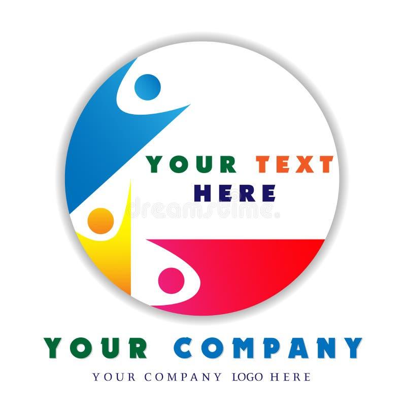 Logotipo abstracto de la gente para la empresa de negocios Tecnología, medios idea social del logotipo La gente conecta, circunda ilustración del vector