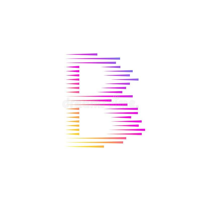 Logotipo abstracto de la letra B, velocidad rápida, moviéndose Vector ilustración del vector