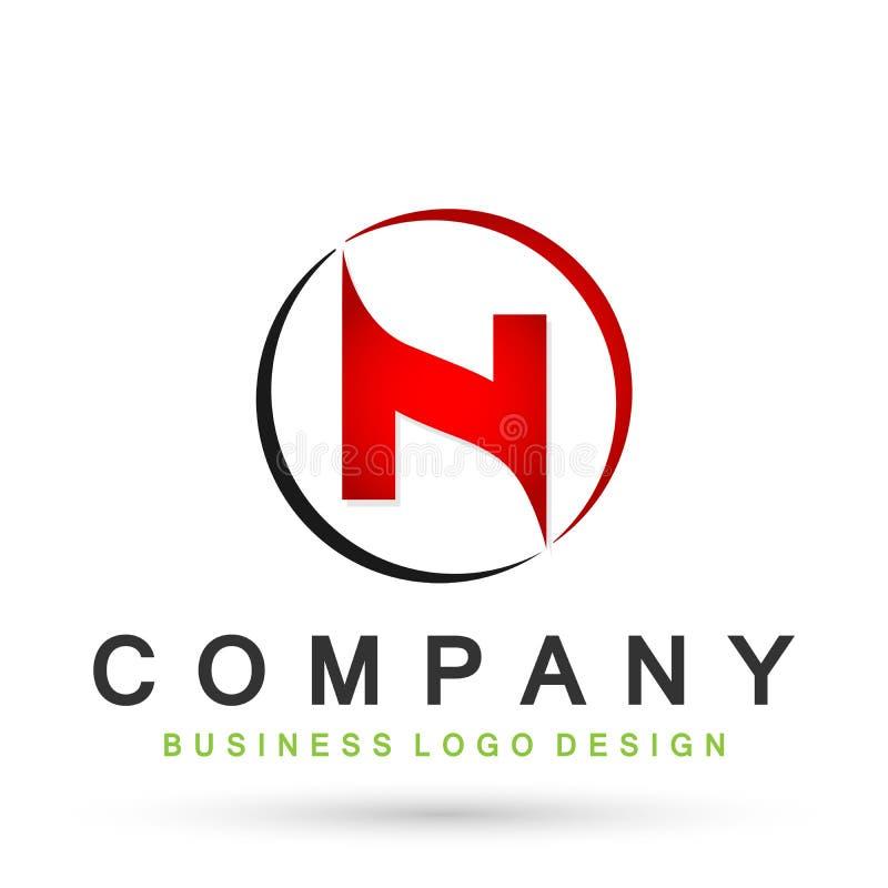 Logotipo abstracto de la letra N en círculo en vector coloreado rojo del diseño en el elemento para la compañía en el fondo blanc ilustración del vector
