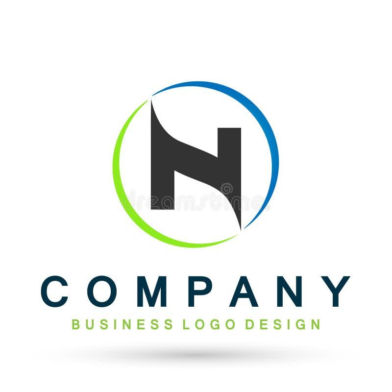 Logotipo abstracto de la letra N en vector del diseño del círculo en el elemento para la compañía en el fondo blanco libre illustration
