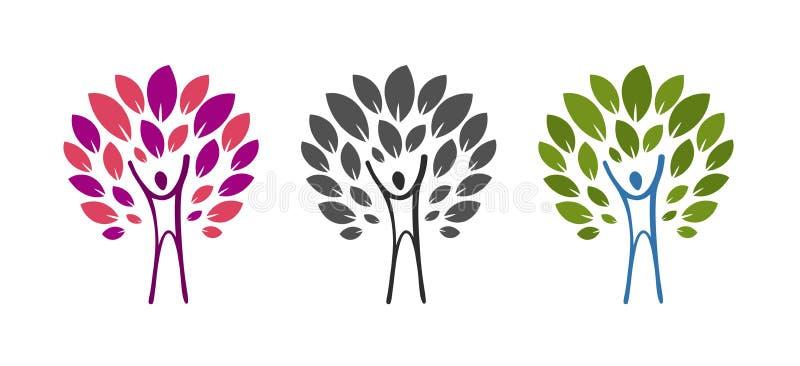 Logotipo abstracto del árbol y del hombre Salud, salud, ecología, producto natural, icono de la naturaleza o etiqueta Ilustración ilustración del vector