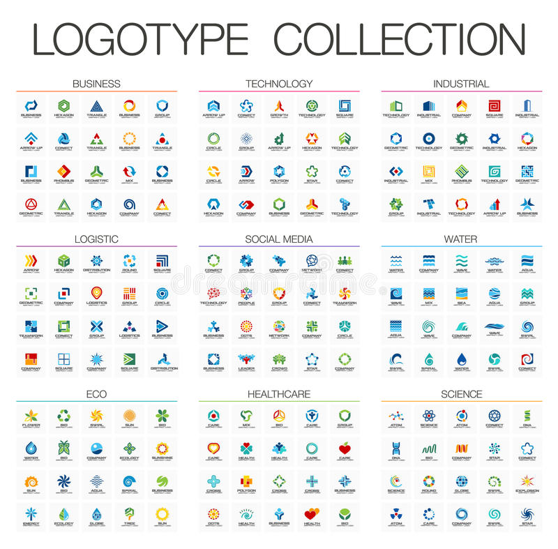 Logotipo abstracto del color fijado para la empresa de negocios Elementos del diseño de la identidad corporativa ilustración del vector