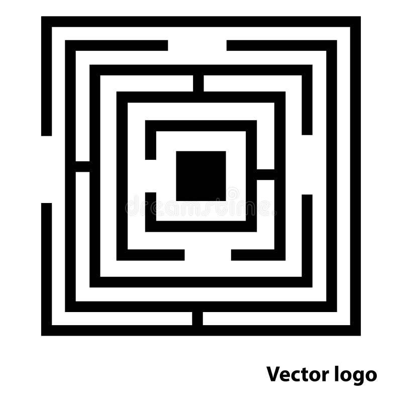 Logotipo abstracto del laberinto, icono del laberinto del negro plano aislado en el fondo blanco, ejemplo del vector, Ep ilustración del vector
