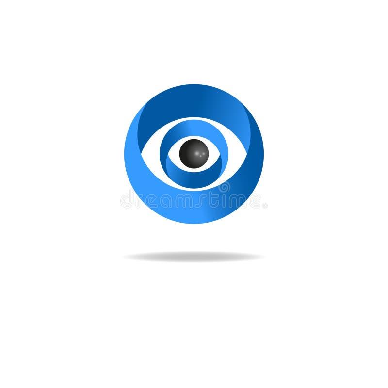 Logotipo abstracto del ojo humano, icono azul de los medios libre illustration