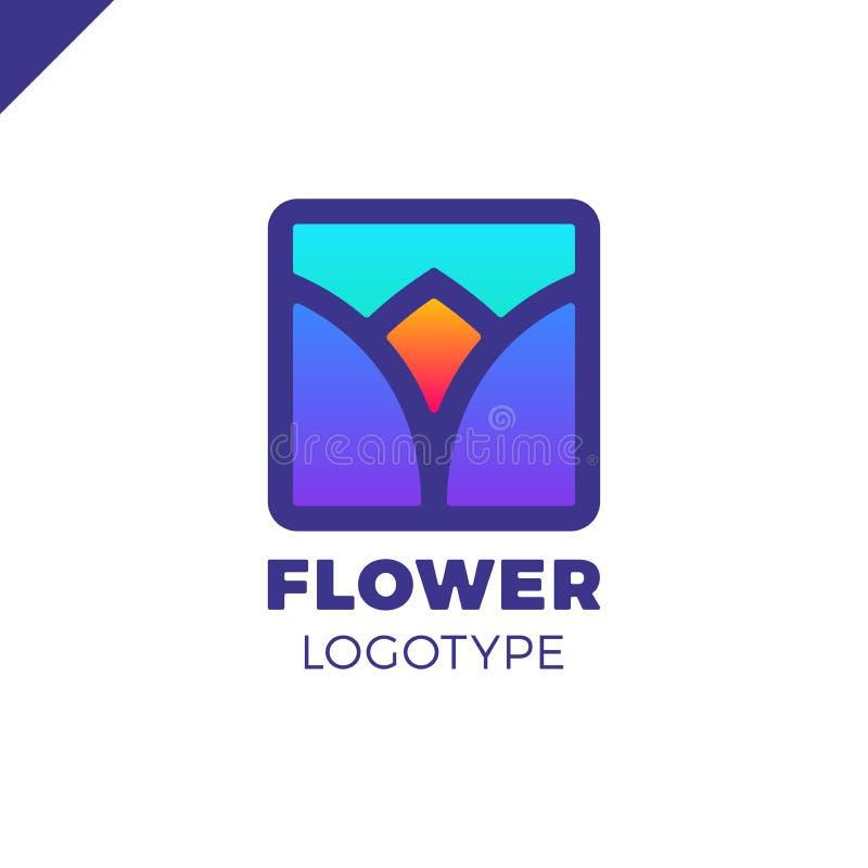 Logotipo abstracto del tulipán de la flor en diseño cuadrado del icono Símbolo superior linear elegante ilustración del vector