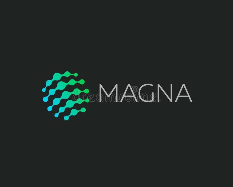 Logotipo abstracto del vector del c?rculo del punto Logotipo universal de la medicina de la ciencia de la web de los medios de la stock de ilustración