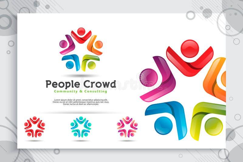 Logotipo abstracto del vector de la muchedumbre de la gente del ejemplo con concepto colorido y moderno del estilo como plantilla ilustración del vector