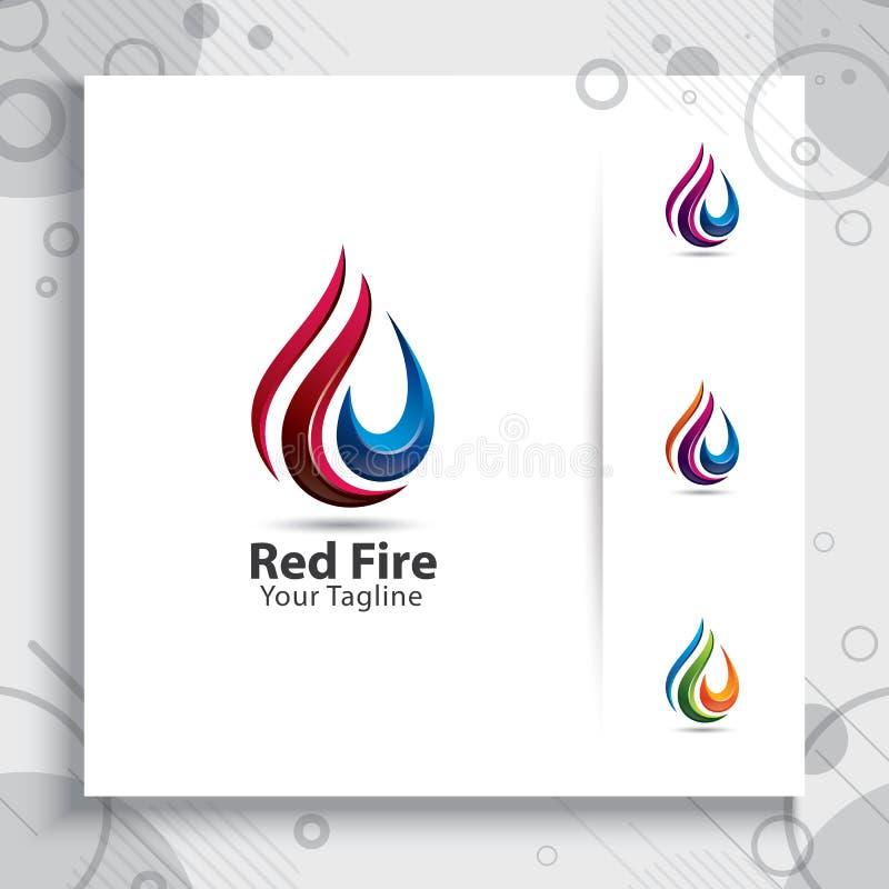 Logotipo abstracto del vector del fuego 3d con el concepto de diseño moderno, fi rojo ilustración del vector