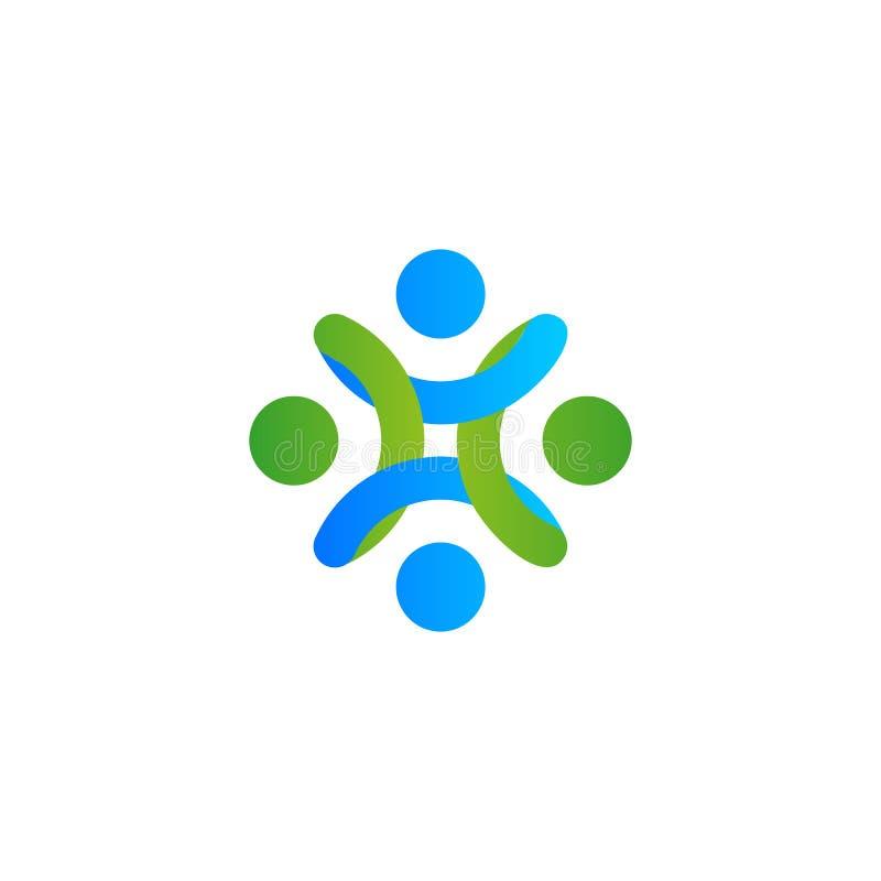 Logotipo abstracto del vector, gente estilizada, ayuda humana y cohesión stock de ilustración