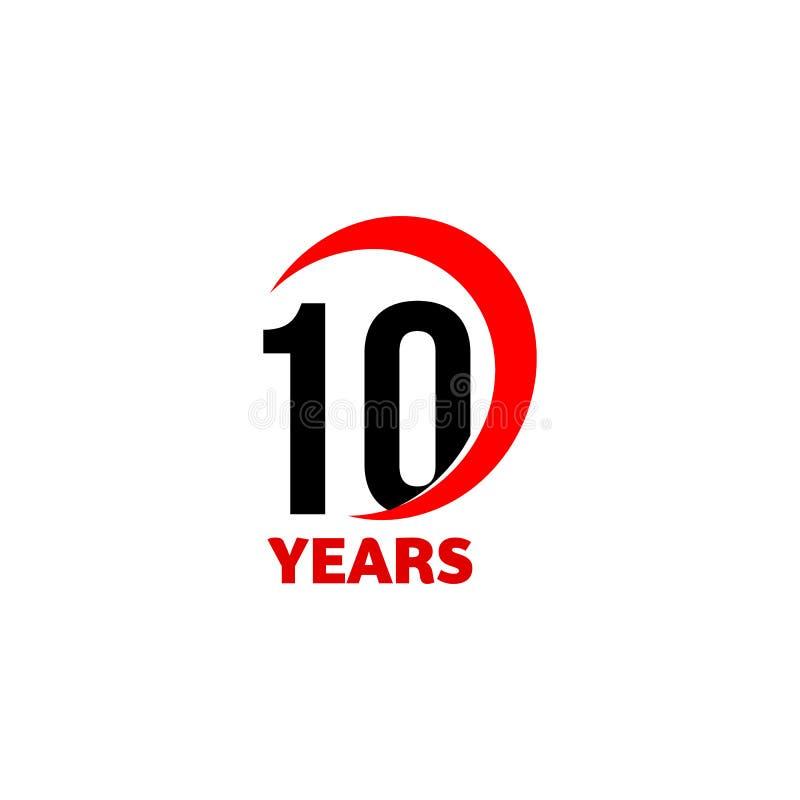 logotipo abstracto del vector del 10mo aniversario Icono del día del feliz cumpleaños diez Números negros en arco rojo con el tex stock de ilustración