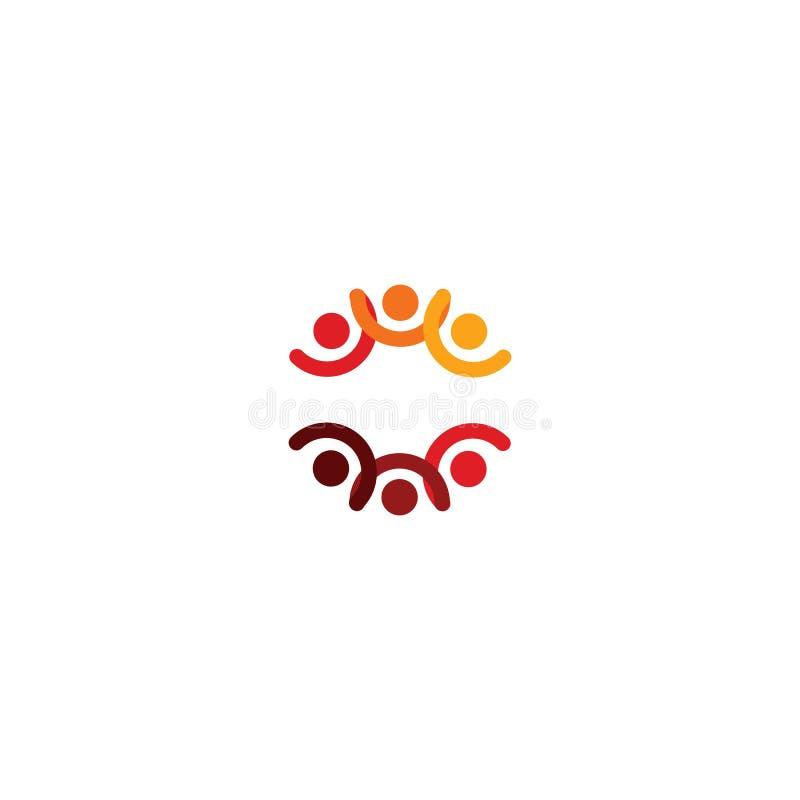 Logotipo abstracto del vector que representa a la gente estilizada, que lleva a cabo las manos y se une en una unión, una ayuda h ilustración del vector