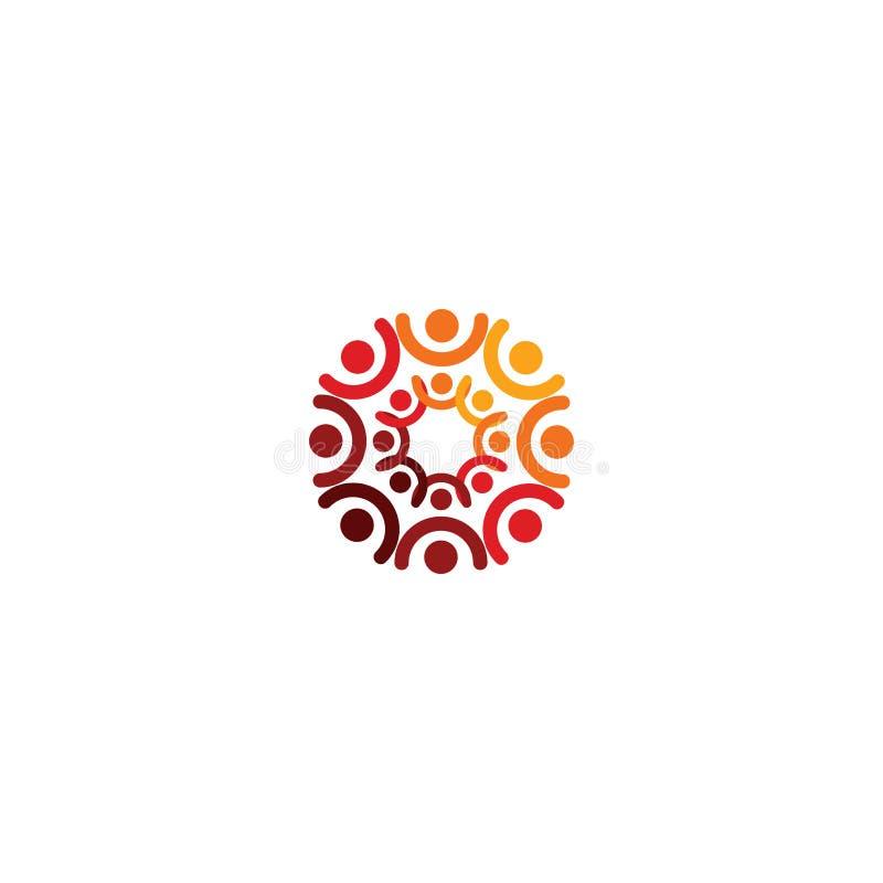 Logotipo abstracto del vector que representa a la gente estilizada, que lleva a cabo las manos y se une en una unión, una ayuda h stock de ilustración