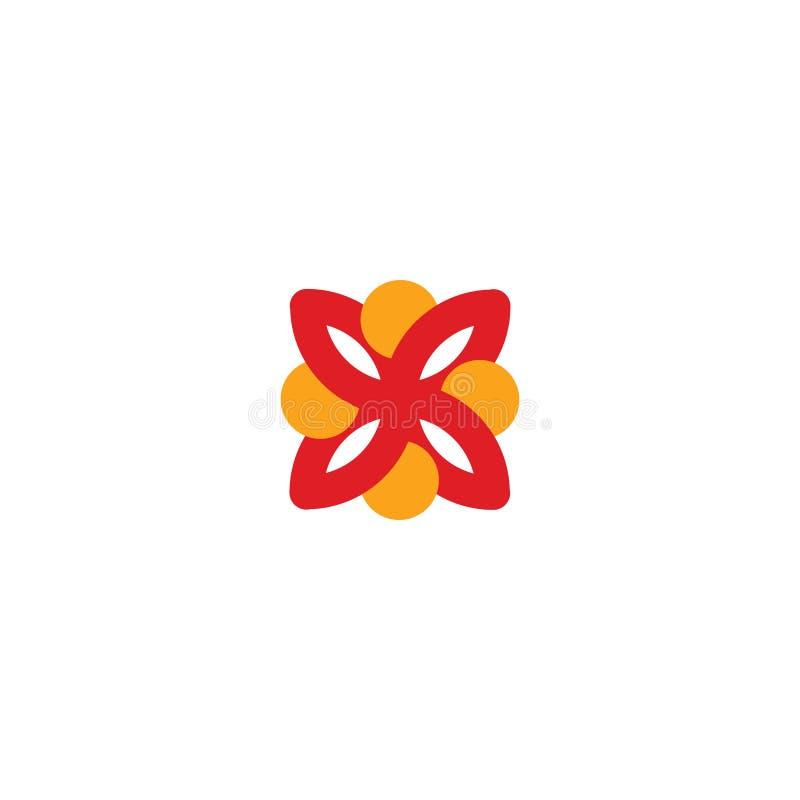 Logotipo abstracto del vector que representa a la gente estilizada, que lleva a cabo las manos y se une en una unión, una ayuda h libre illustration