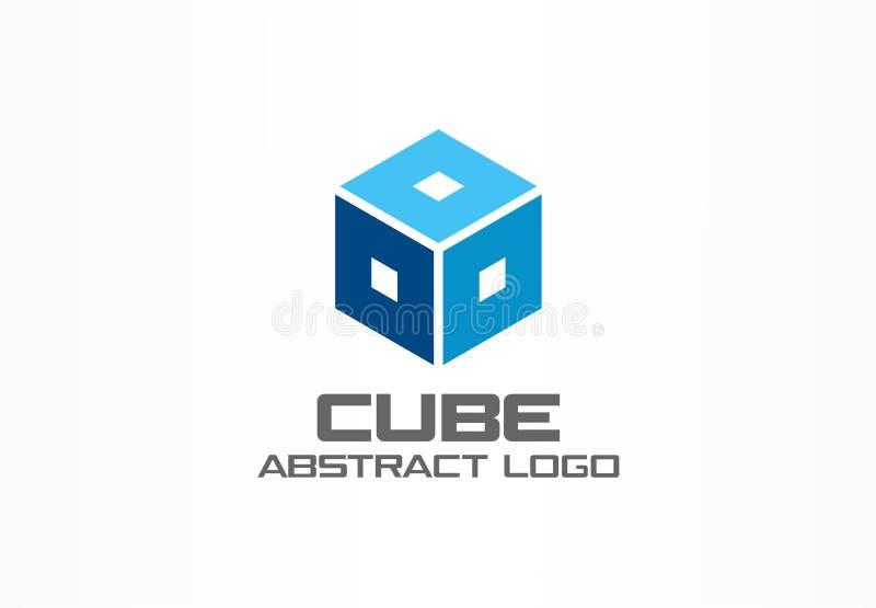 Logotipo abstracto para la empresa de negocios Elemento del diseño de la identidad corporativa Cubo, caja, marco cuadrado, idea d ilustración del vector
