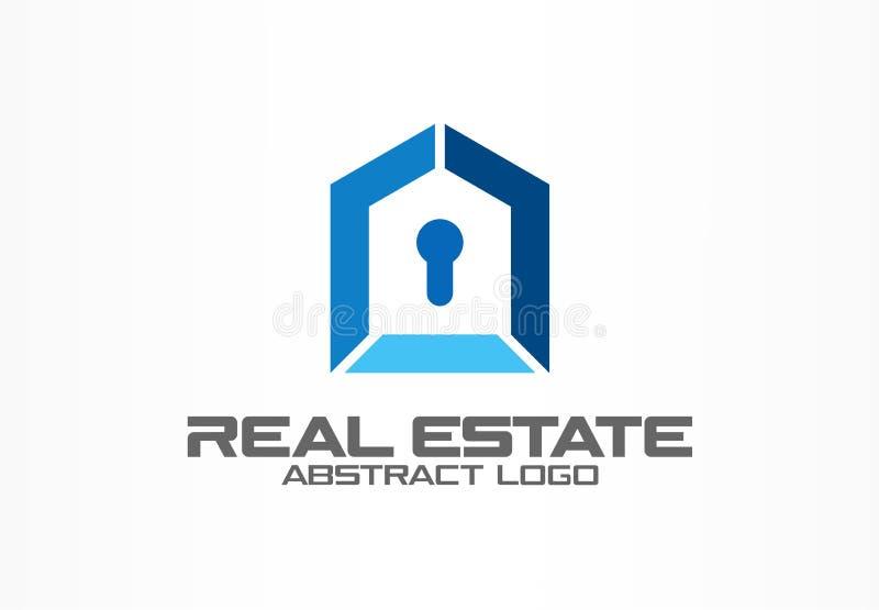 Logotipo abstracto para la empresa de negocios Elemento del diseño de la identidad corporativa Propiedades inmobiliarias, cerradu ilustración del vector