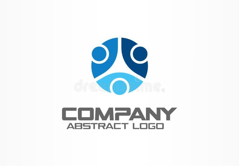 Logotipo abstracto para la empresa de negocios Tecnología, medios idea social del logotipo La gente conecta, circunda, divide en  ilustración del vector
