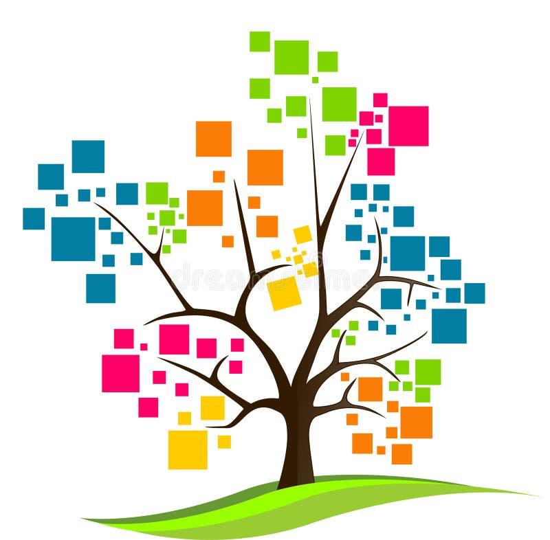 Logotipo abstrato da árvore ilustração stock