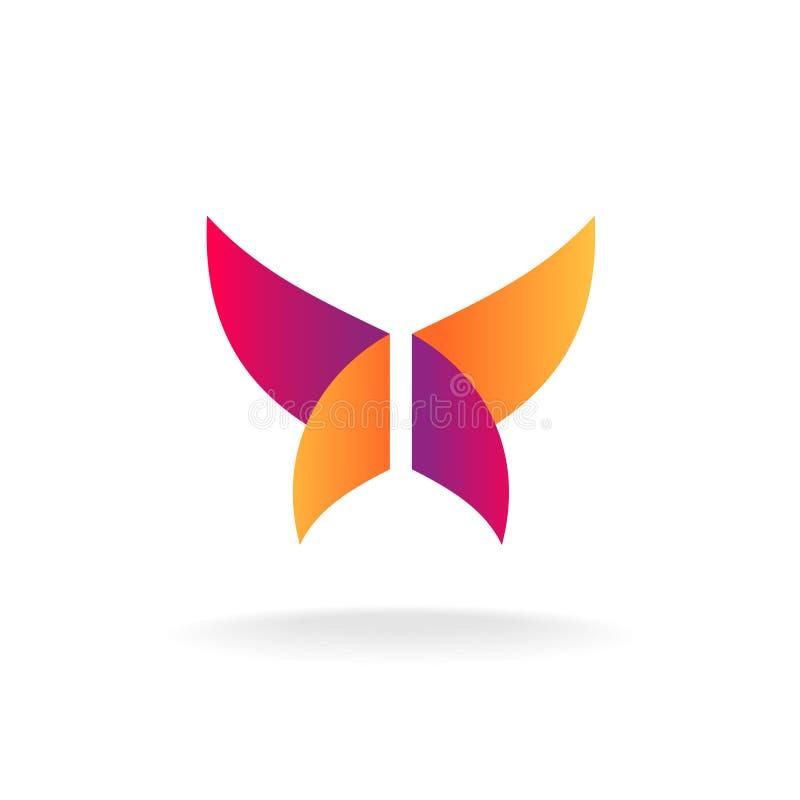 Logotipo abstrato da borboleta ilustração do vetor