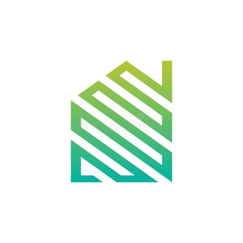 Logotipo abstrato da casa verde ilustração stock