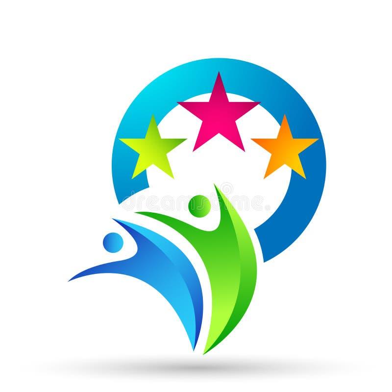 Logotipo abstrato da celebra??o da uni?o dos povos no logotipo bem sucedido investido incorporado do neg?cio ?cone do conceito do ilustração royalty free