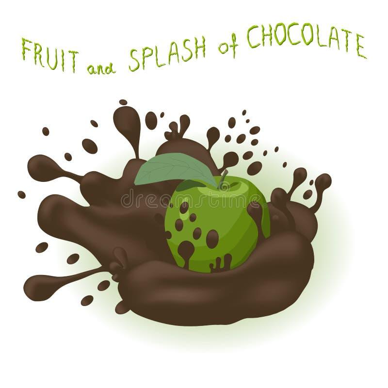 Logotipo abstrato da ilustração do ícone para a maçã madura inteira do verde do fruto ilustração stock
